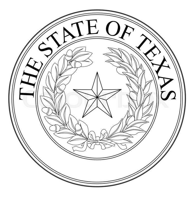 797x800 The Seal Of The United Steas Of American State Texas Black Line