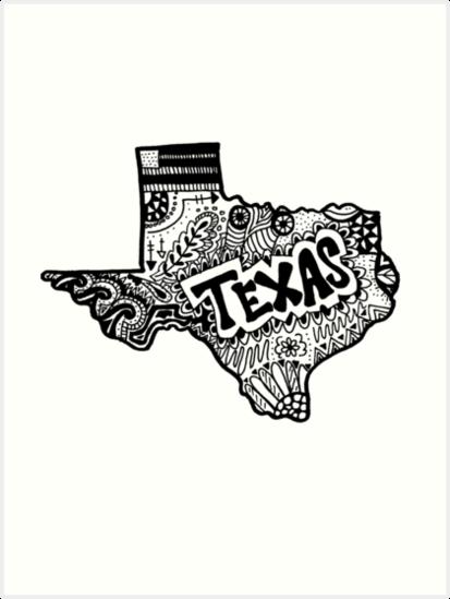 413x549 Hipster Texas State Zentangle Art Prints By Alexavec Redbubble