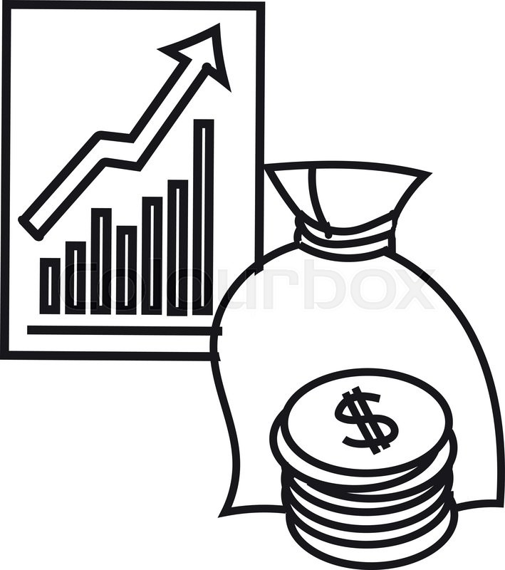 709x800 Black And White Illustration Of Finance. Financial Concept