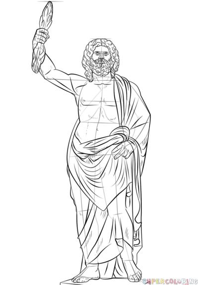 399x575 How To Draw Zeus Greek God Step By Step Drawing Tutorials