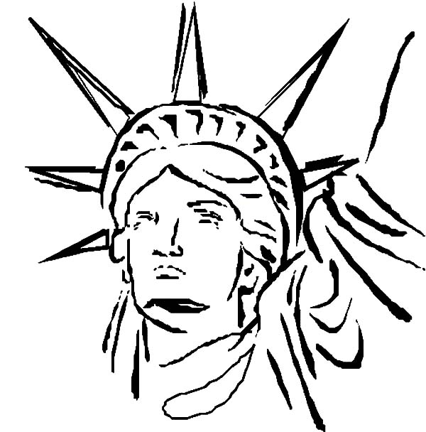600x608 Statue Of Liberty Head Coloring Page