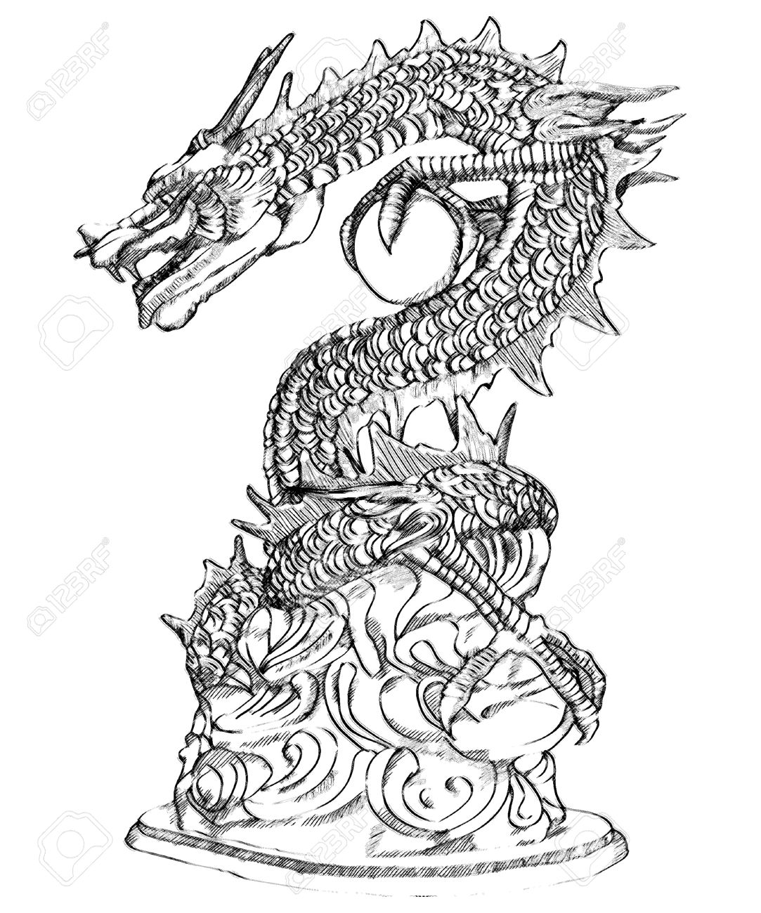 1083x1300 Chinese Style Dragon Statue Sketch Up Stock Photo, Picture