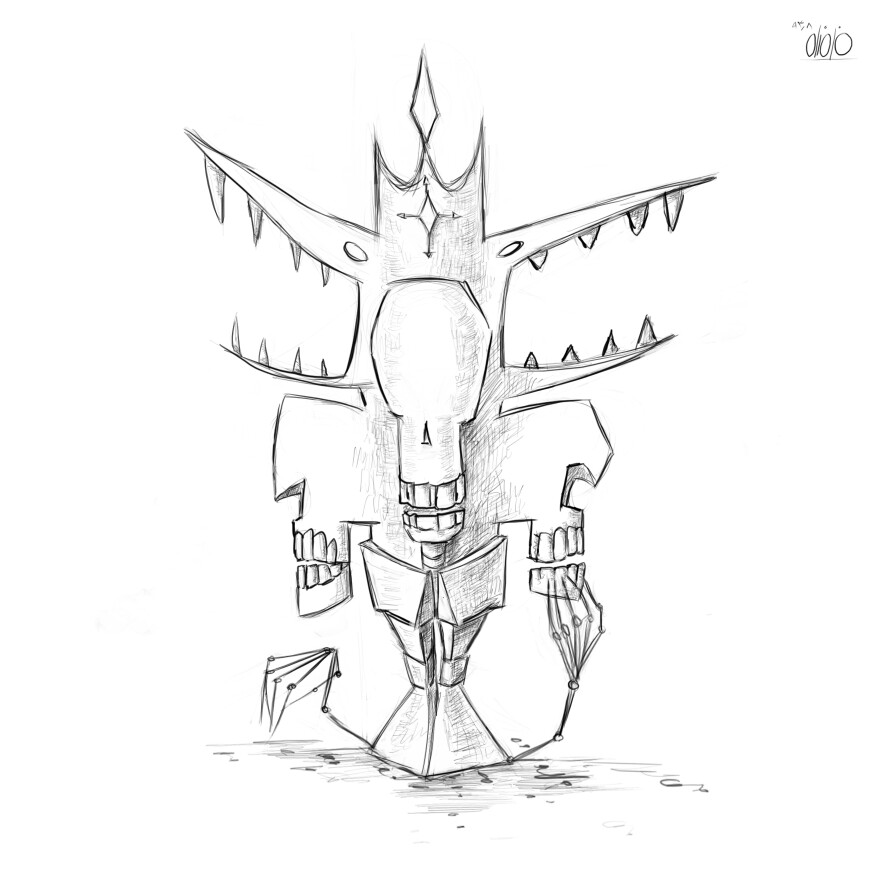 886x886 A Square Statue For Skeleton City