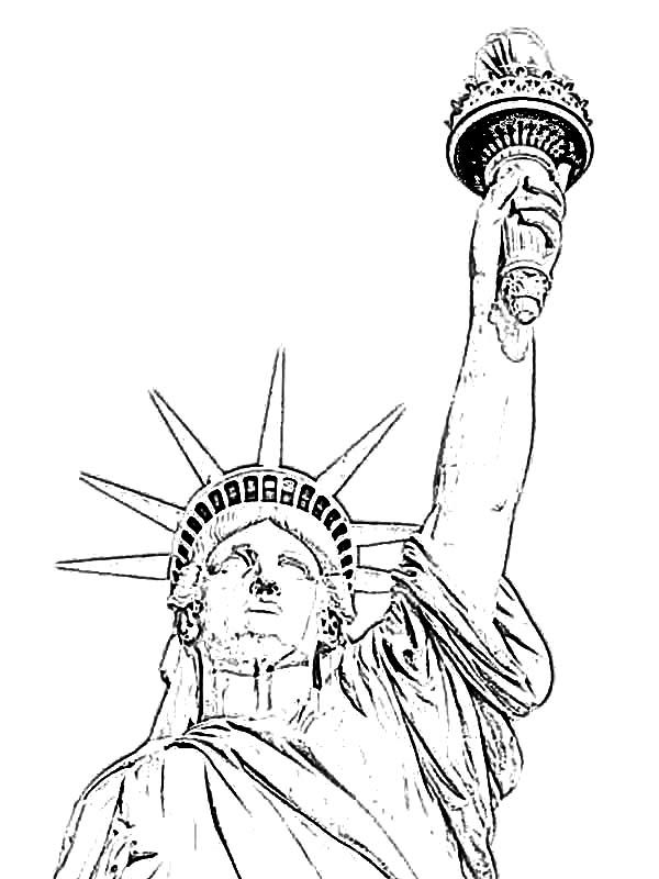 600x800 Statue Of Liberty Black And White Coloring Page
