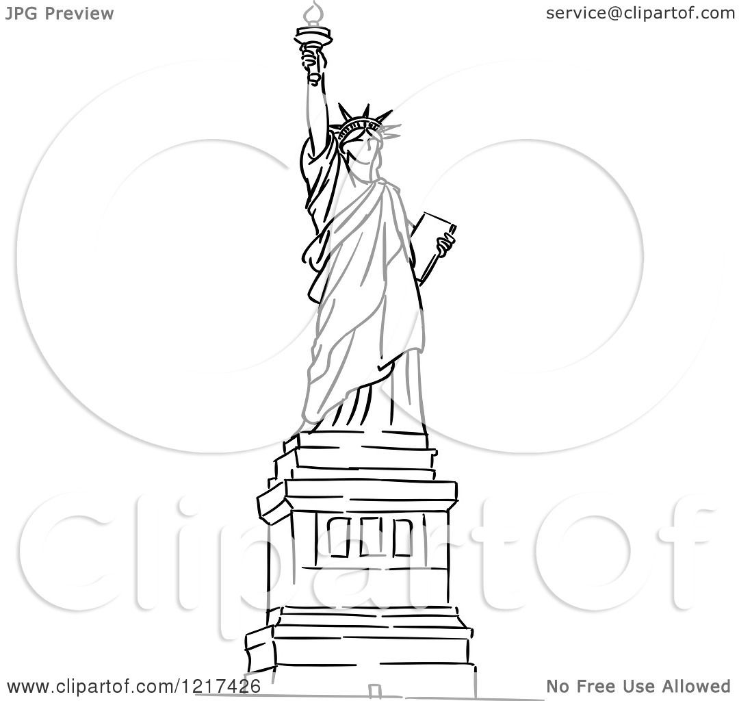 1080x1024 Statue Of Liberty Clipart Sketch