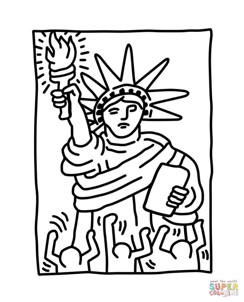 974x1207 Statue Of Liberty By Keith Haring Coloring Page Free Printable