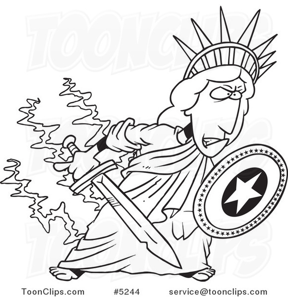 581x600 Cartoon Black And White Line Drawing A Defensive Statue