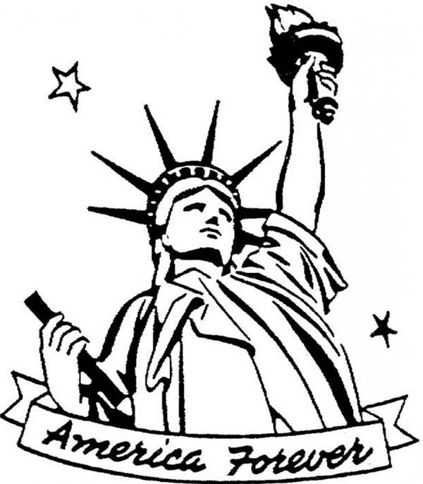 600x686 America Forever In Statue Of Liberty Coloring Page