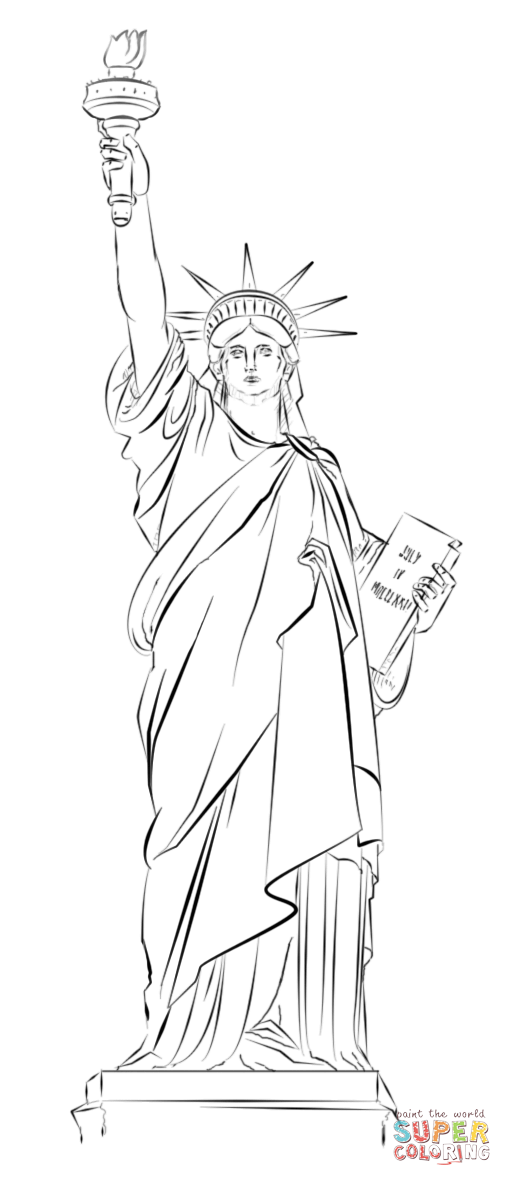 512x1186 Statue Of Liberty In New York Coloring Page Free Printable