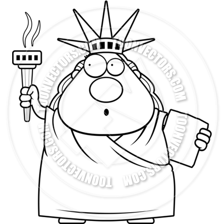 460x460 Cartoon Statue Of Liberty Surprised (Black And White Line Art) By