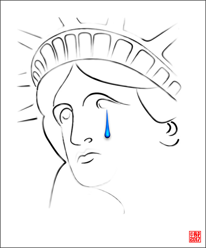 665x800 Statue Of Liberty Crying Stickers By Bluepolitica Redbubble