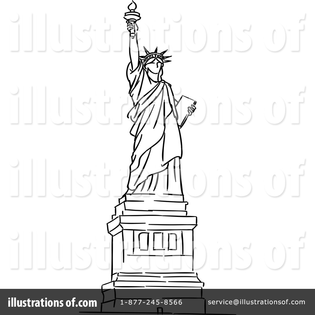 1024x1024 Statue Of Liberty Clipart Black And White