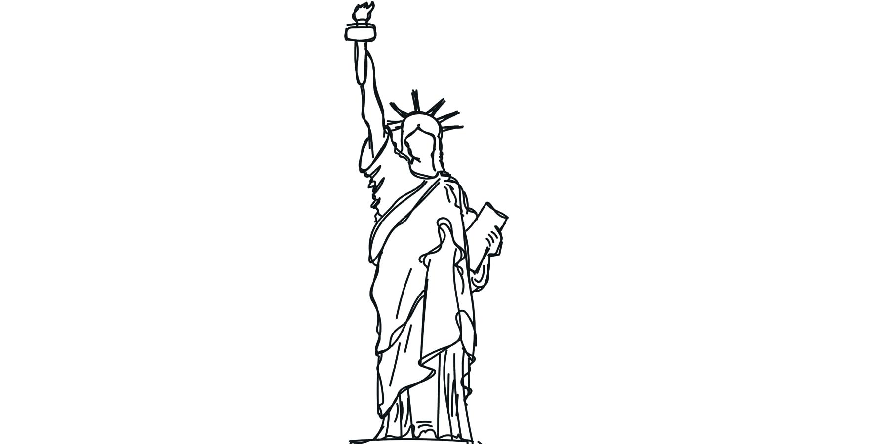 1800x900 Coloring Statue Of Liberty Coloring Funny Vector Illustration