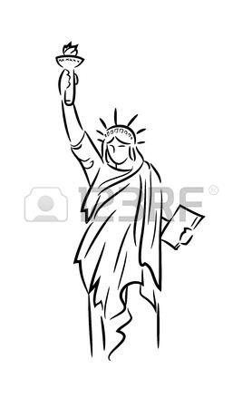267x450 Drawn Statue Of Liberty Line Drawing