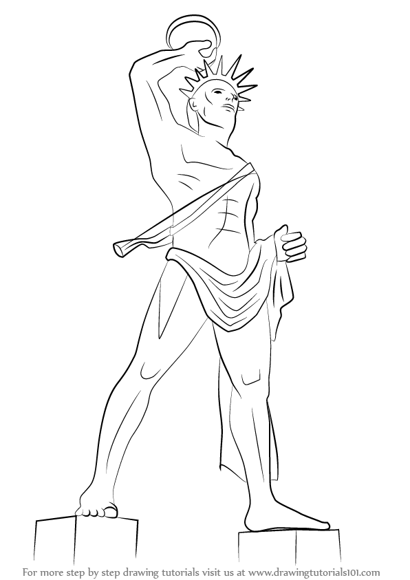 596x843 Learn How To Draw Colossus Of Rhodes (Statues) Step By Step
