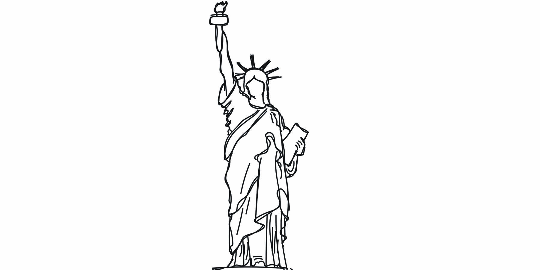 1800x900 Statue Of Liberty Drawing