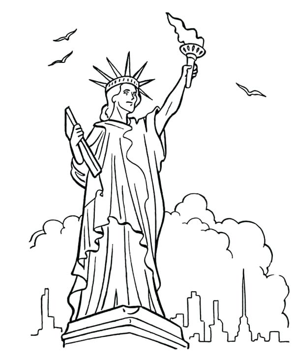 600x734 Statue Of Liberty Coloring Page Best Coloring Pages