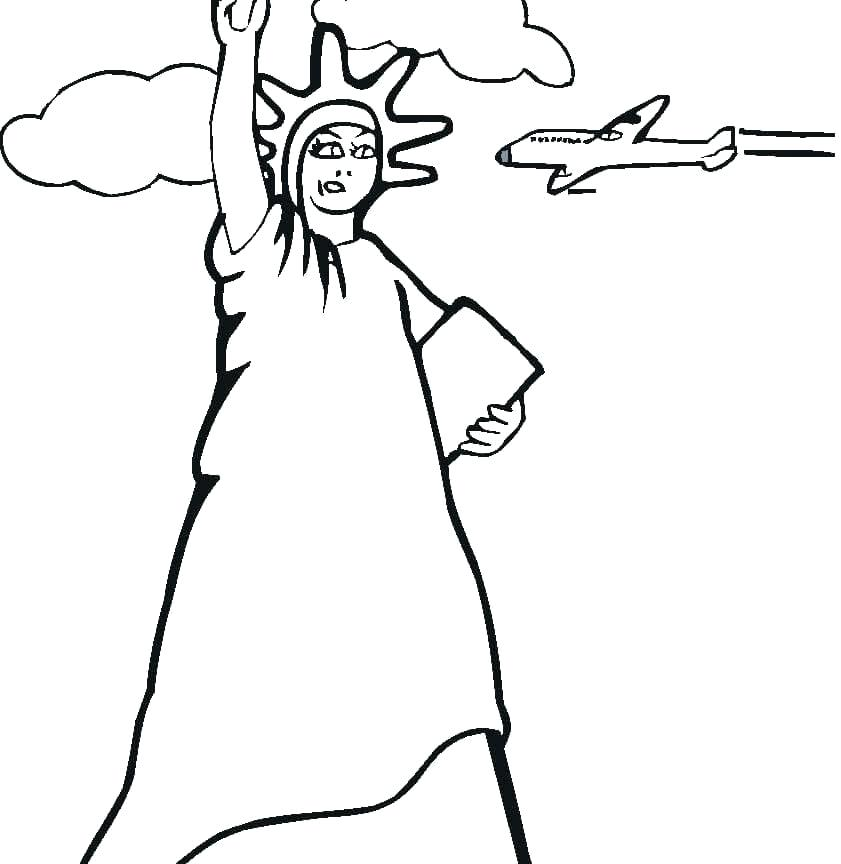 841x864 Elegant Statue Liberty Coloring Pages To Print Or Statue