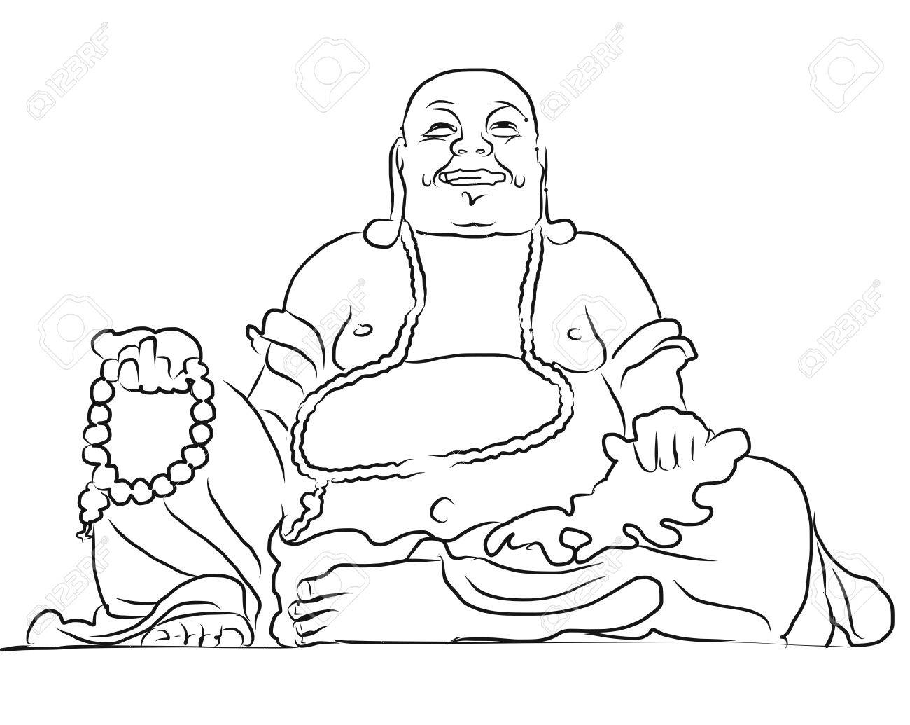 1300x1035 Maitreya Buddha Outline Vector Drawing, Sitting On Top Of Cam