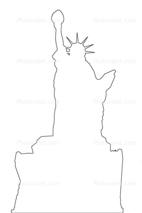 279x418 Statue Of Liberty Outline, Line Drawing, Shape, 1950's Images