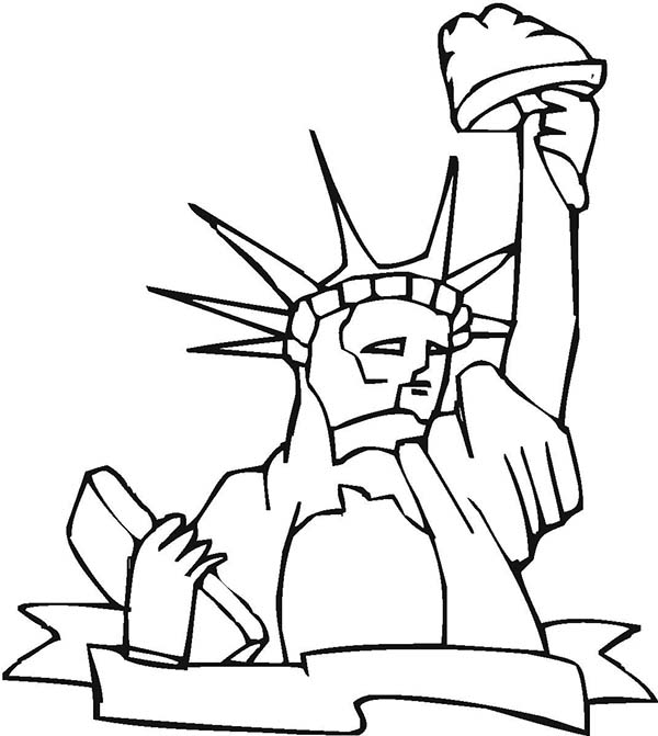 600x671 Statue Liberty The Proud America Coloring Page Statue
