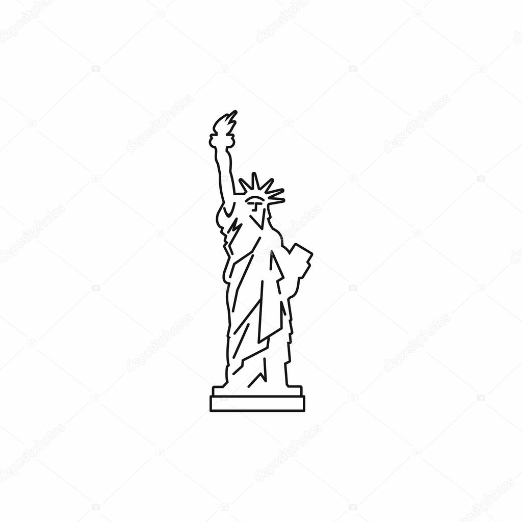 1024x1024 Statue Of Liberty Icon, Outline Style Stock Vector Ylivdesign