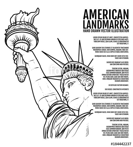 455x500 The Statue Of Liberty Hand Drawn Vector Illustration, American