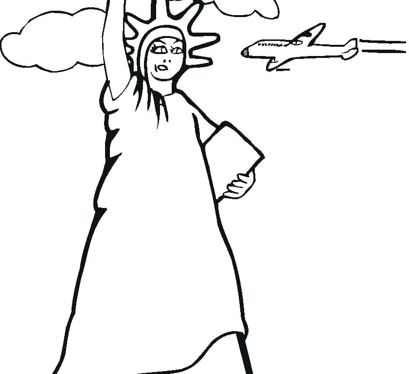 841x768 Elegant Statue Liberty Coloring Pages To Print Or Statue