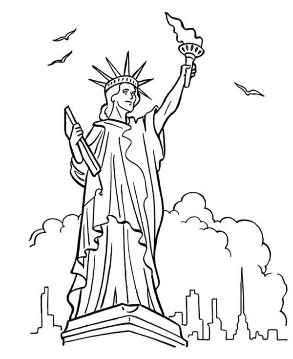 600x734 New Yourk Statue Of Liberty Coloring Sheet Liberty Bell Coloring