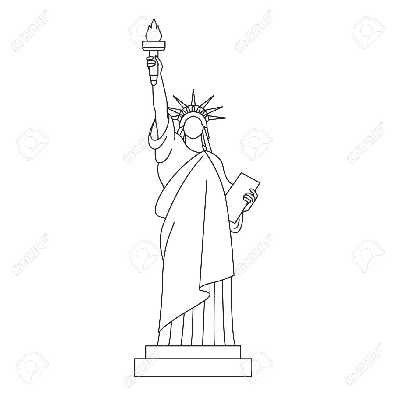 1300x1300 Statue Of Liberty, Vector Line Icon. Royalty Free Cliparts