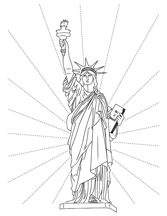 564x729 Statue Of Liberty Coloring Pages Lineart Patriotic