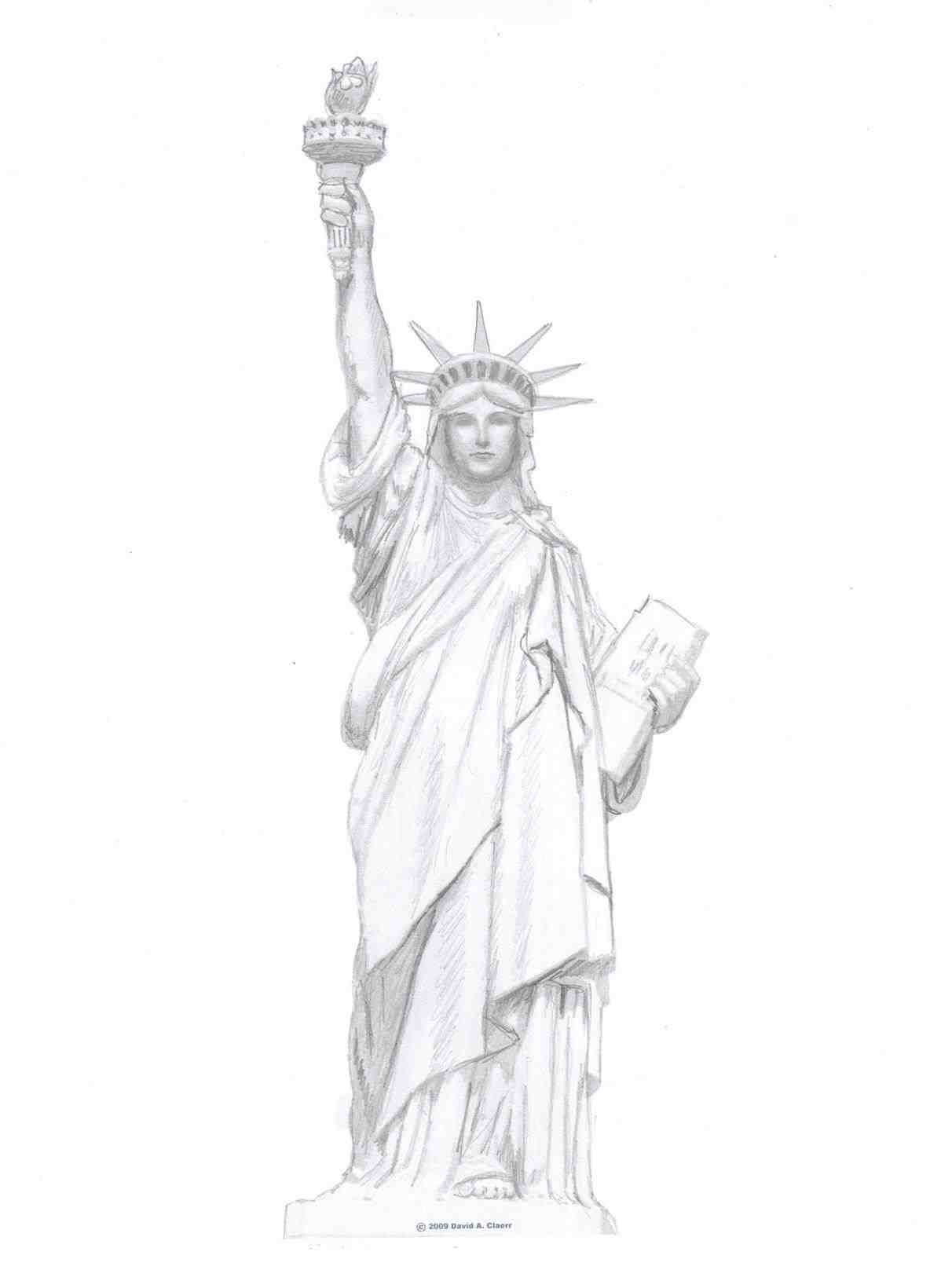 1212x1631 Template Of Liberty Drawings Drawing Free Drawn Outline Pencil
