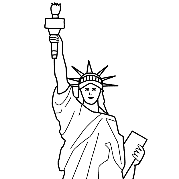 625x625 Drawn Statue Of Liberty Printable