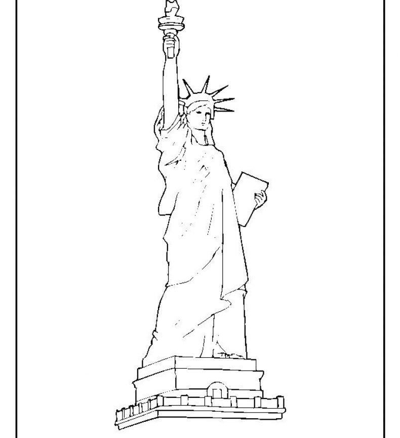 790x864 Free Printable Statue Of Liberty Coloring Pages For Kids Adult