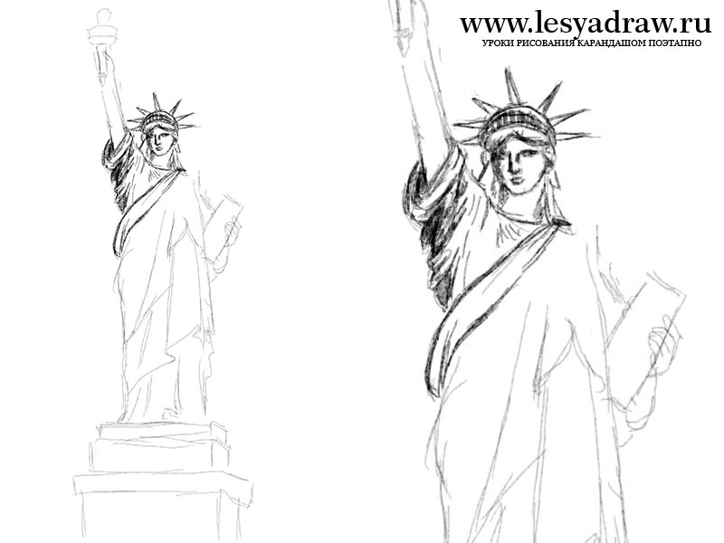 800x600 How To Draw The Statue Of Liberty Step By Step