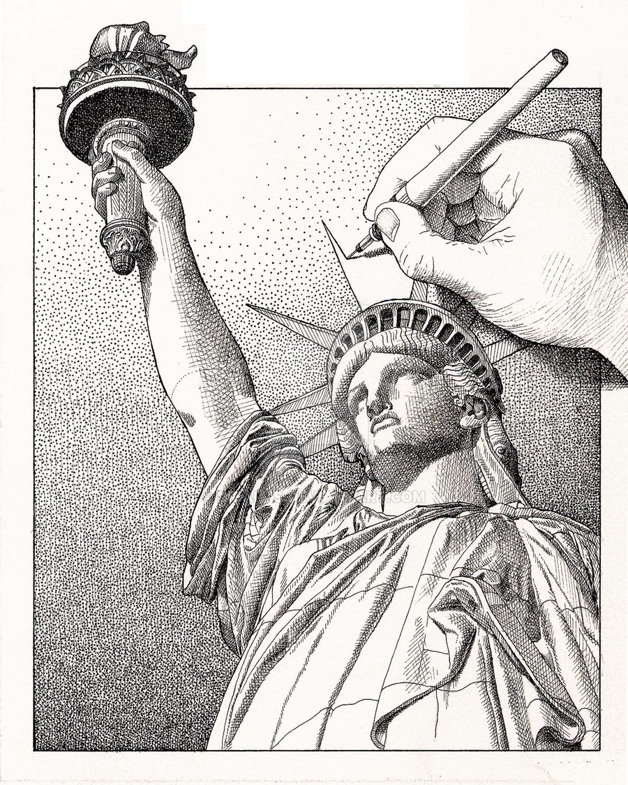 900x1125 Drawing Statue Of Liberty By Dicarts