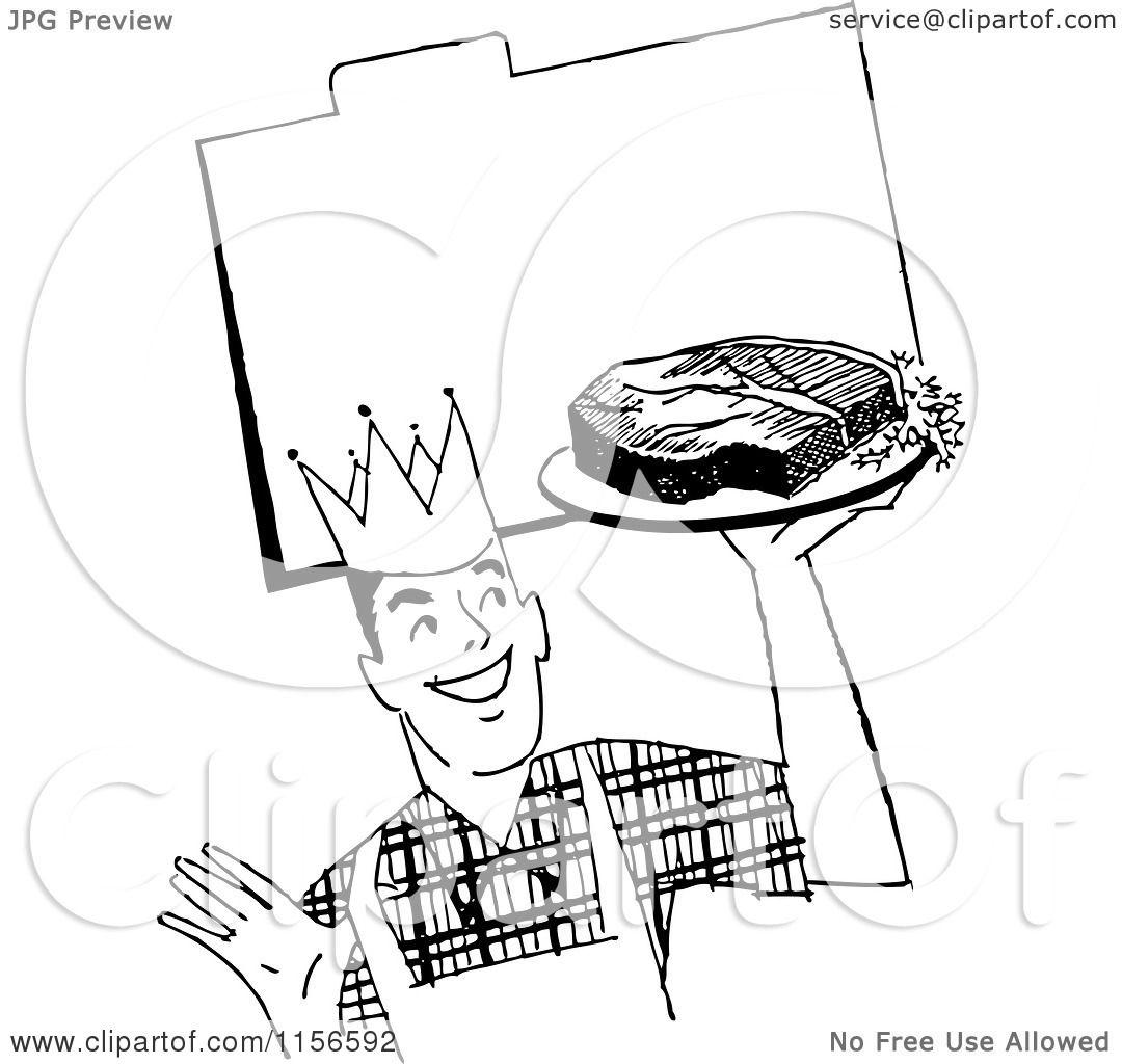 1080x1024 Clipart Of Blacknd White Retro Male Chef With Steak Over