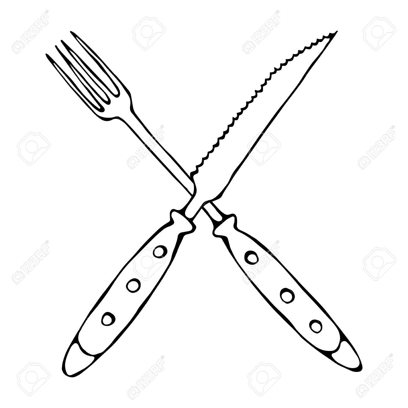 1300x1300 Crossed Fork Over Steak Knife. Food Icon. Realistic Doodle Cartoon