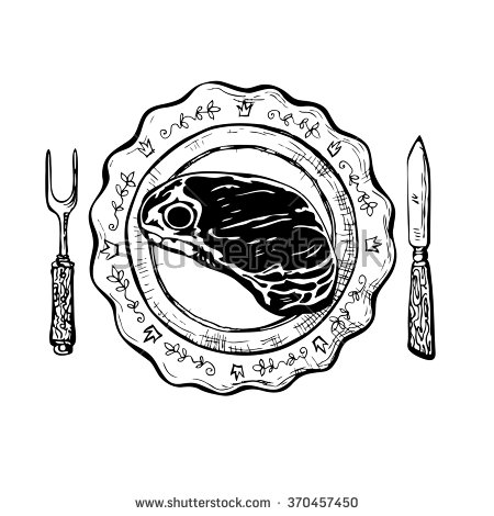 450x470 Dinner With Steak. Vintage Black And White Ink Drawing Vector