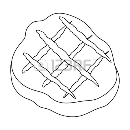 450x450 Grilled Steak Icon In Cartoon Style Isolated On White Background