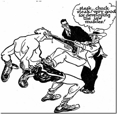 400x390 Willard Mullin Sports Cartoon Boxer Eating Steak Willard