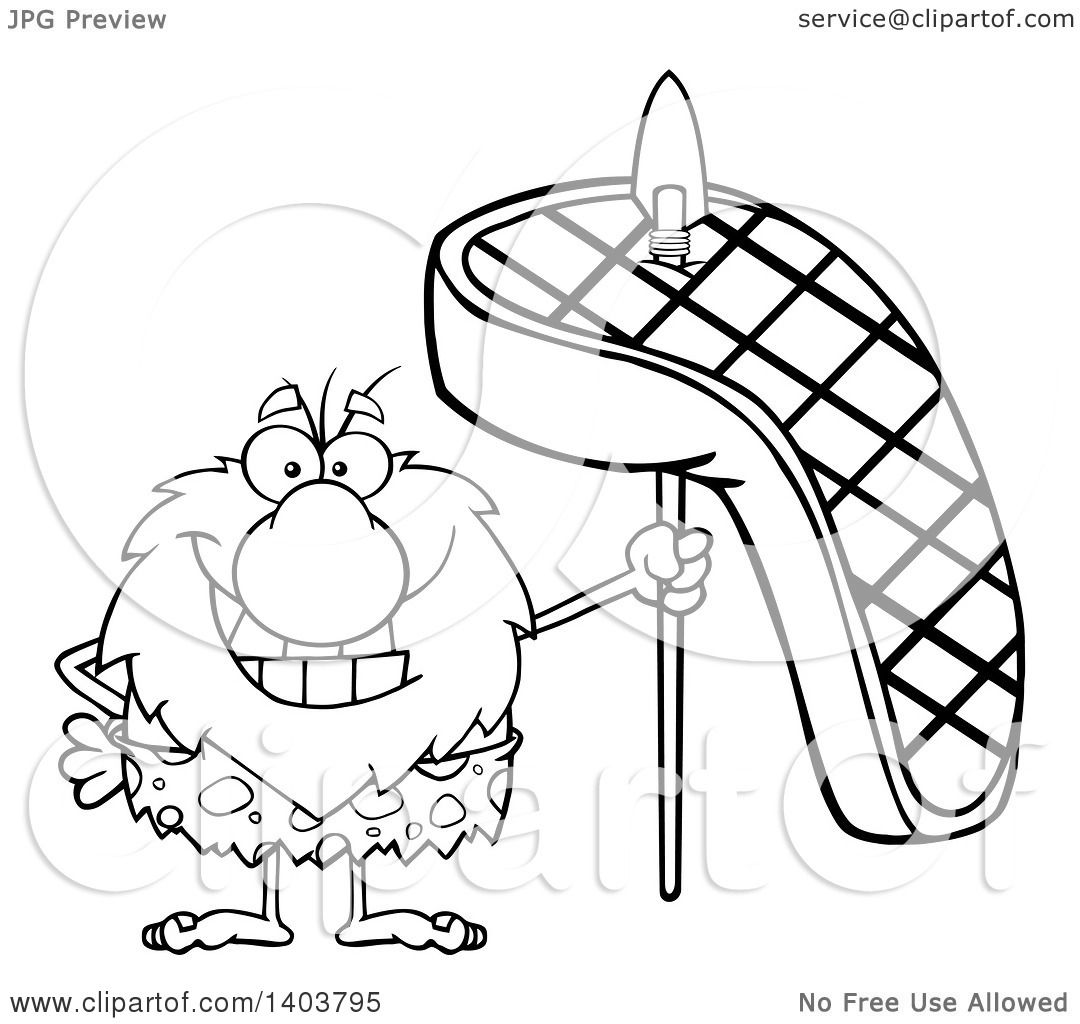 1080x1024 Cartoon Clipart Of A Black And White Lineart Caveman Mascot