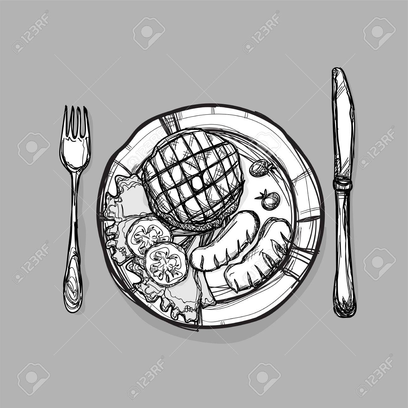 1300x1300 Food Steak Meat Burger Sausage Set Drawing Graphic Illustrate