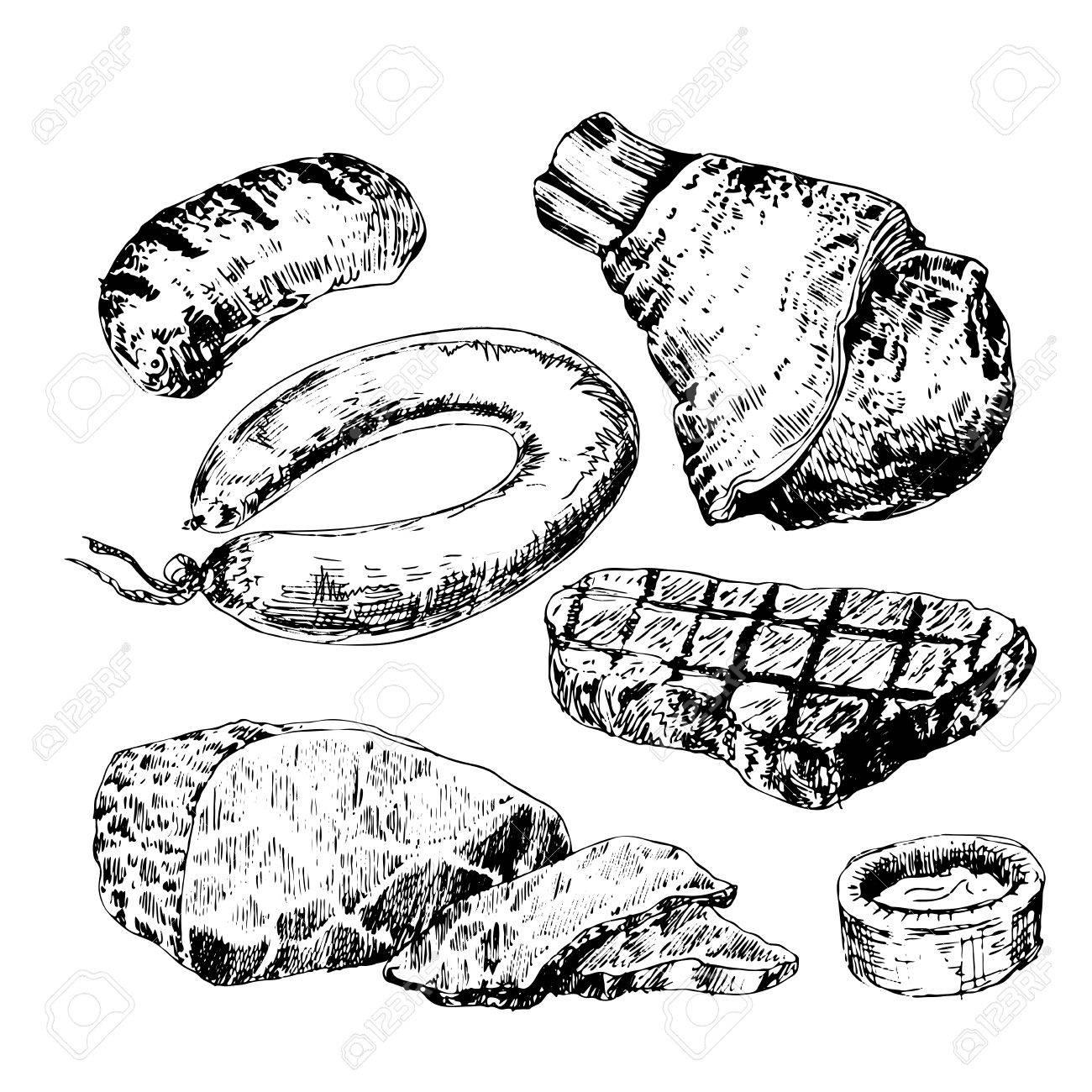 1300x1300 Various Meats Doodles Sausages, Wurst, Wiener, Salami, Steak