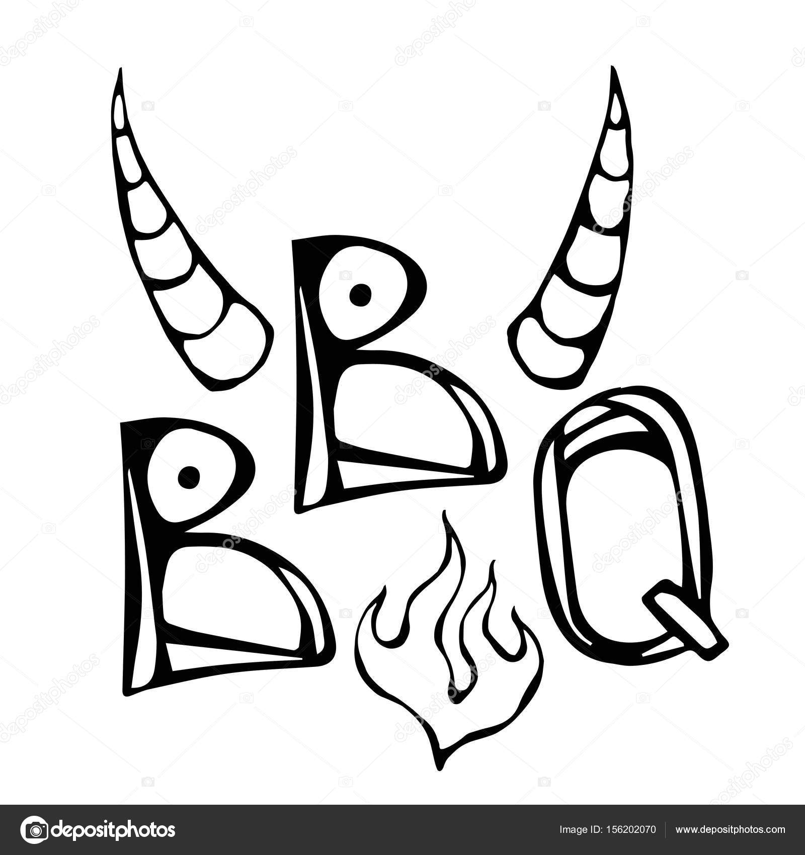 1600x1700 Bbq Steak Concept Lettering With Fire And Bull Horns. Meat Logo