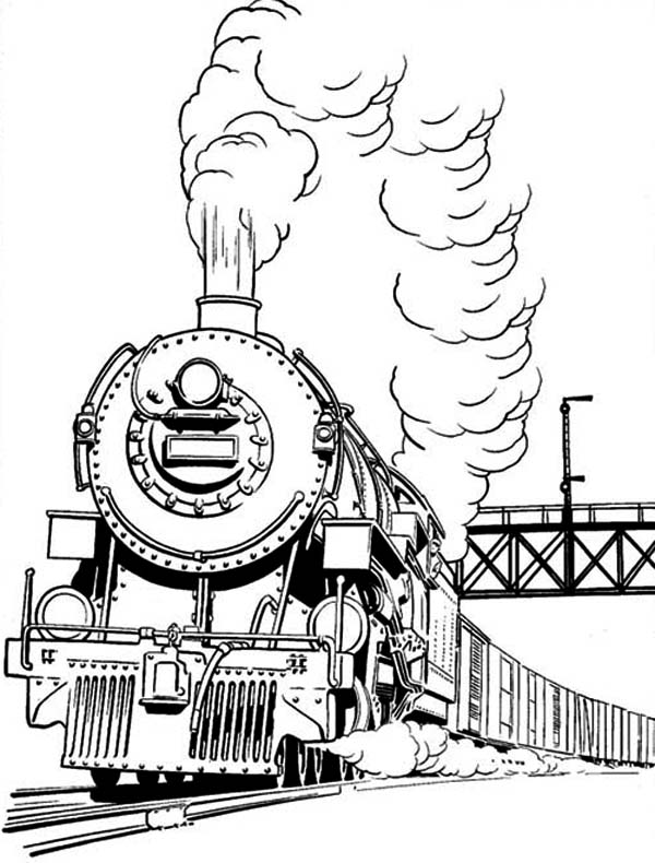 600x790 Long Smoke Of Steam Train Coloring Page