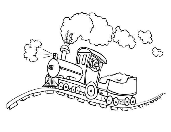 600x464 Steam Train On Bumpy Railroad Coloring Page Color Luna