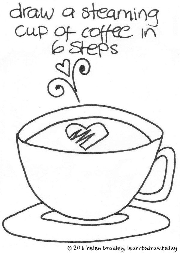 600x841 Coffee Cup And Steam Learn To Draw