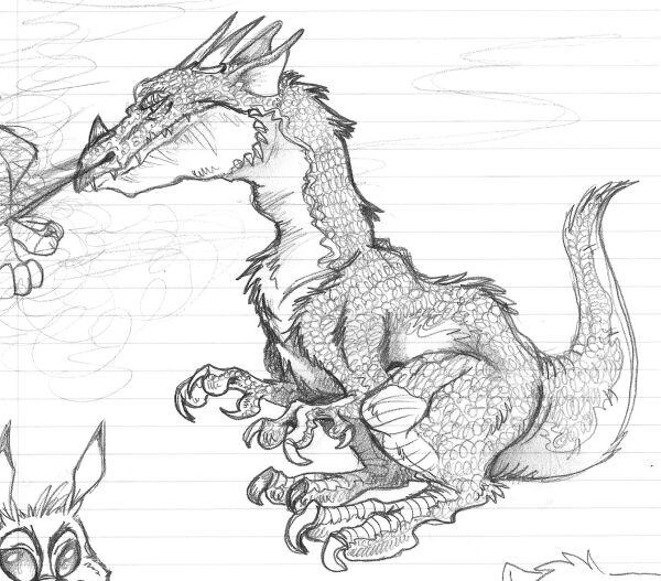600x527 Dragon Blowing Steam Sketch By Mazarin
