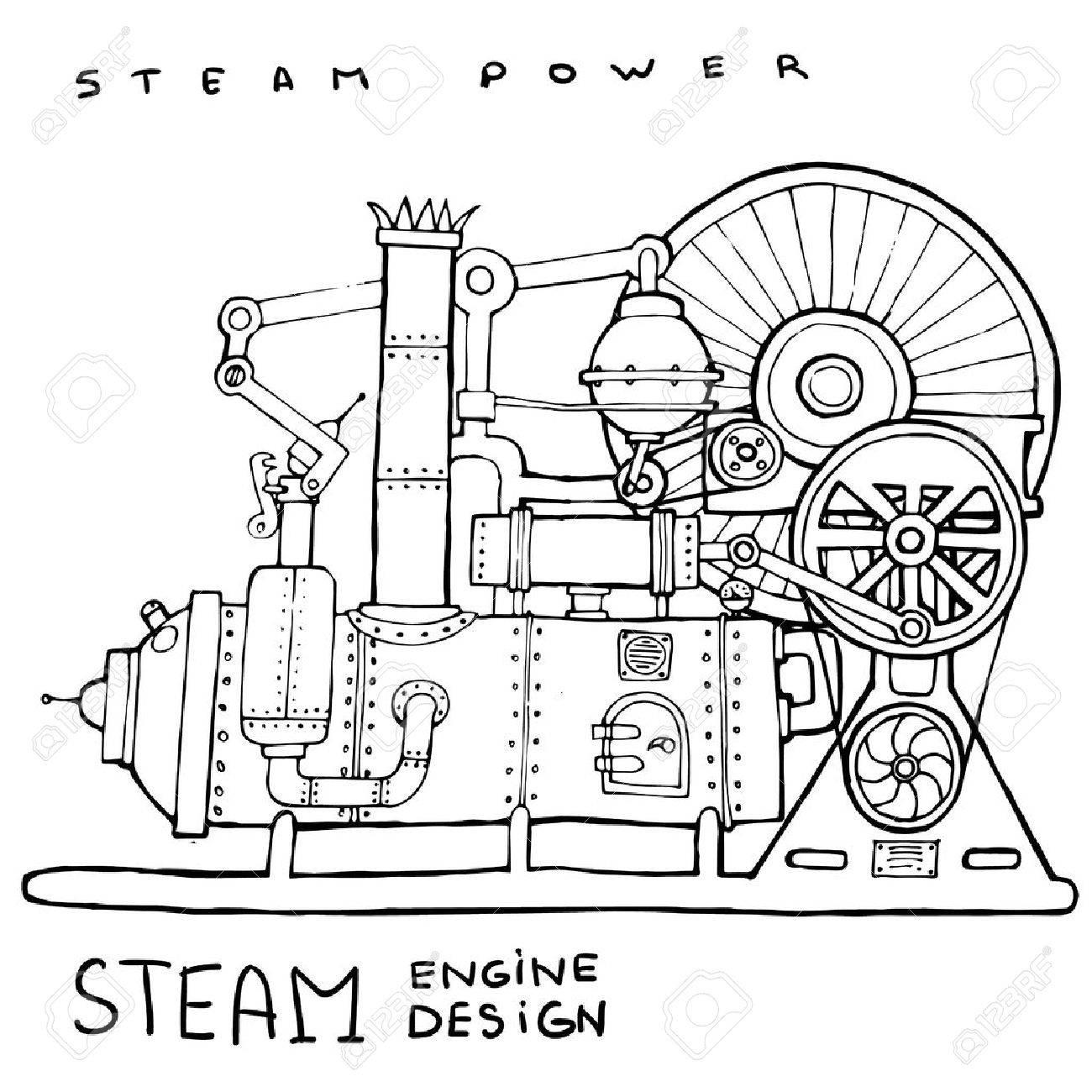 1300x1300 Old Steam Engine. Hand Drawn Vintage Illustration.vector Royalty